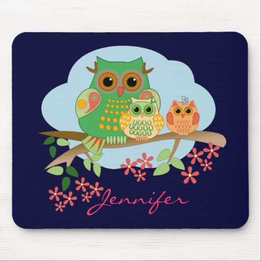 Owl Mom with her kids & Name Mousepad