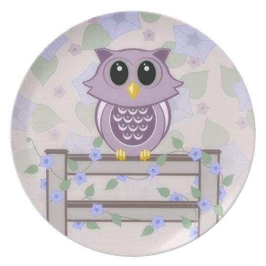 Owl Morning Glory Melamine Plate