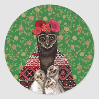 Owl mother triplets owl  babies classic round sticker