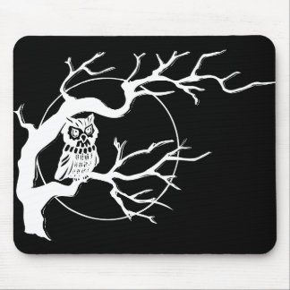Owl Mousemat, black and white Mouse Pad