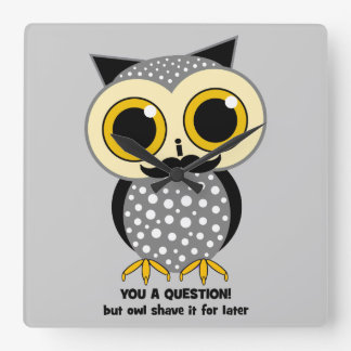 owl mustache you a question wall clocks