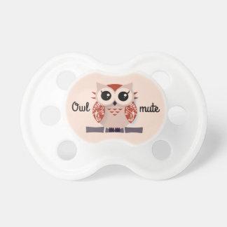 Owl mute - Orange red cartoon owl Pacifiers