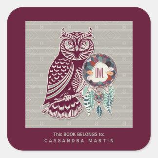 Owl Native American Animal Spirit Book Square Sticker