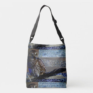 Owl Nature Collage Wood Feather Crossbody Bag