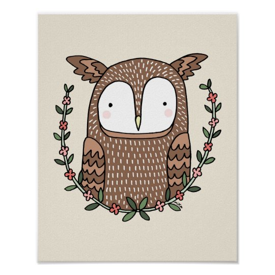Owl Nursery Art Poster Cute Owl woodland Nursery