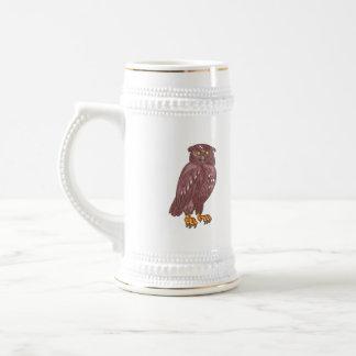 Owl Observing Looking Drawing Beer Stein