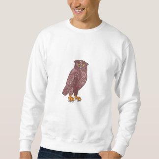 Owl Observing Looking Drawing Sweatshirt