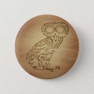 Owl of Wisdom Greek 2 Inch Round Button
