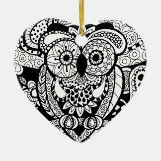 Owl of wishes color your own zendoodle products ceramic heart ornament