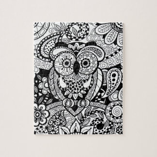 Owl of Wishes Color Your Own Zendoodle Products Jigsaw Puzzle