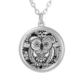 Owl of Wishes Color Your Own Zendoodle Products Silver Plated Necklace