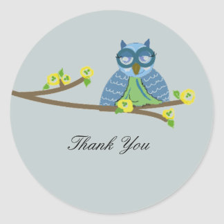 Owl on a Branch Thank You Round Sticker
