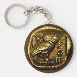 Owl on ancient greek coin basic round button keychain