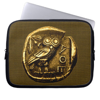 Owl on ancient greek coin laptop sleeve