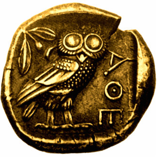 Owl on ancient greek coin standing photo sculpture