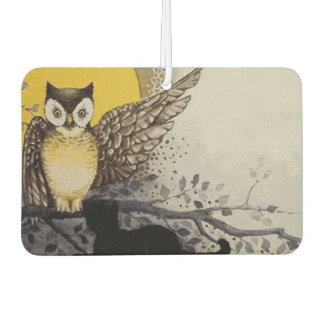 Owl on Branch In front of Moon watching black cat Car Air Freshener