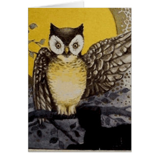 Owl on Branch In front of Moon watching black cat Card