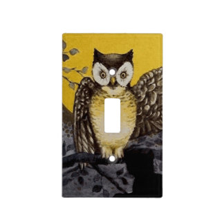 Owl on Branch In front of Moon watching black cat Light Switch Cover