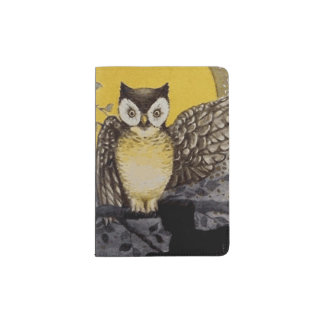 Owl on Branch In front of Moon watching black cat Passport Holder