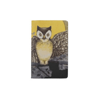 Owl on Branch In front of Moon watching black cat Pocket Moleskine Notebook
