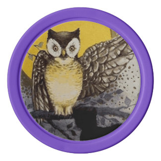 Owl on Branch In front of Moon watching black cat Poker Chips