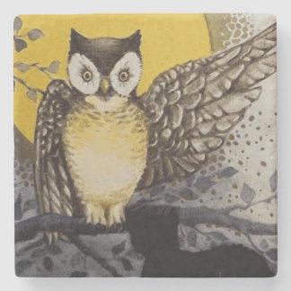 Owl on Branch In front of Moon watching black cat Stone Coaster