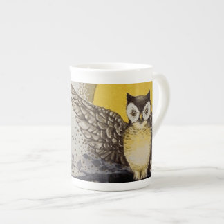 Owl on Branch In front of Moon watching black cat Tea Cup