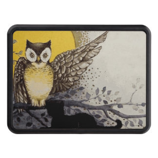 Owl on Branch In front of Moon watching black cat Trailer Hitch Cover