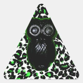 Owl On Green Leopard Spots Triangle Sticker