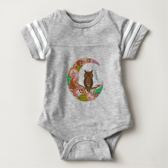 Owl on Moon Baby Bodysuit