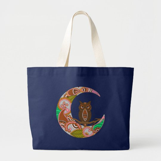 Owl on Moon Large Tote Bag