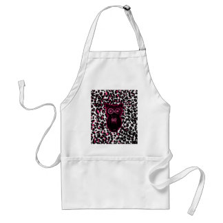 Owl on Pink Leopard Spots Background Adult Apron
