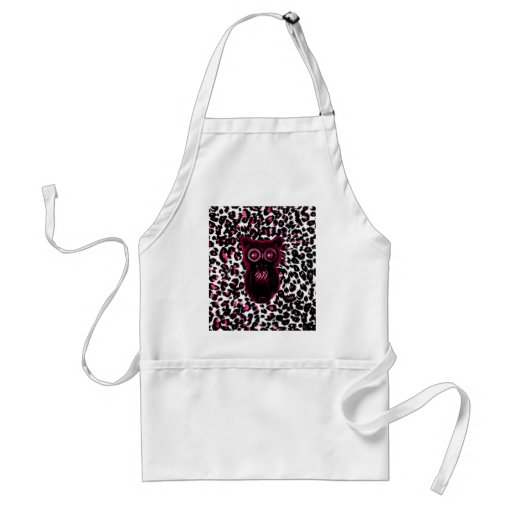 Owl on Pink Leopard Spots Background Aprons