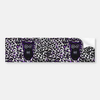 Owl On Purple Leopard Spots Bumper Sticker