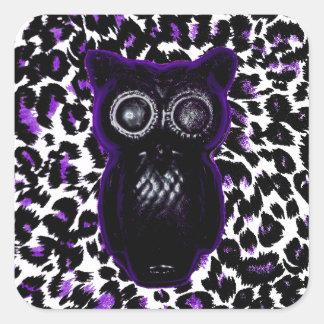 Owl On Purple Leopard Spots Square Sticker