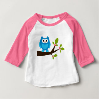 Owl Owls Bird Birds Blue Cute Tree Cartoon Animal Baby T-Shirt