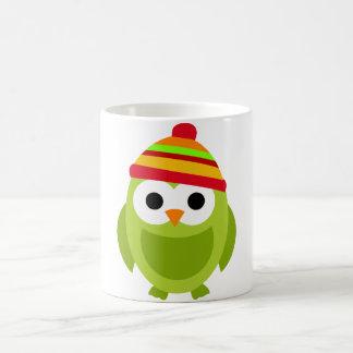 Owl Owls Bird Birds Green Winter Hat Cute Cartoon Basic White Mug