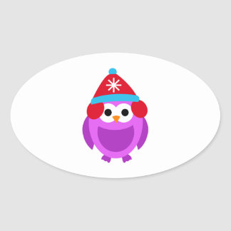 Owl Owls Bird Purple Winter Red Hat Cute Cartoon Oval Sticker