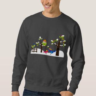 Owl Owls Birds Winter Snow Cute Tree Cartoon Sweatshirt