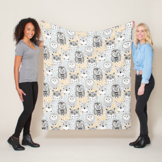 Owl Pattern fleece blankets