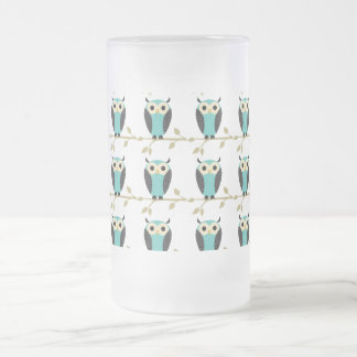 Owl Pattern Frosted Glass Beer Mug