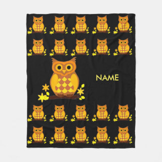 Owl Pattern on Fleece Blanket