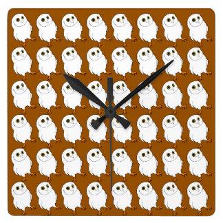 Owl Pattern Square Wall Clock