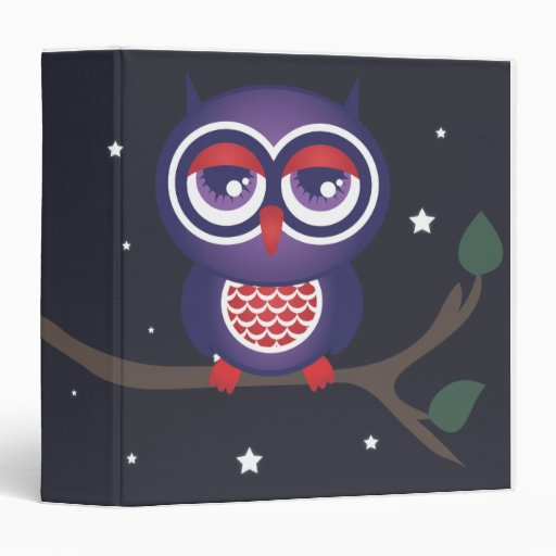 Owl perched on a branch 3 ring binders