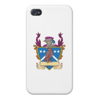 Owl Perching Knight Helmet Crest Drawing Covers For iPhone 4