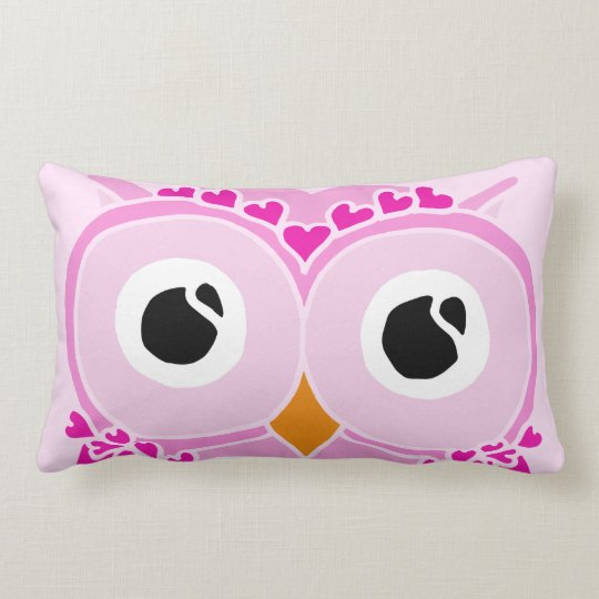 Owl Pillow: Pink Face Owl Lumbar Pillow