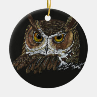 Owl pine cones ceramic ornament