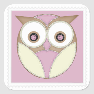 Owl ~ Pink and Choc Square Sticker