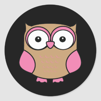 Owl Pink and Tan Round Sticker