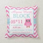 Owl Pink Blue Baby Announcement Pillow